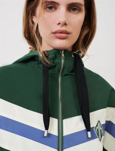 Contrast windbreaker jacket : Coats & Jackets color Green/Purple