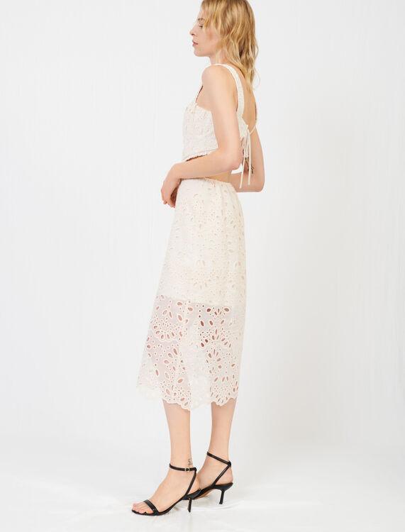 Guipure and organza dress - Dresses - MAJE