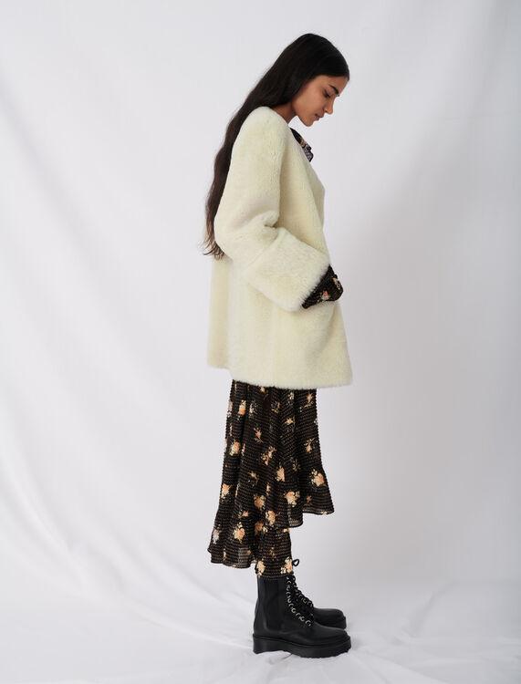 Belted shearling coat - Coats & Jackets - MAJE