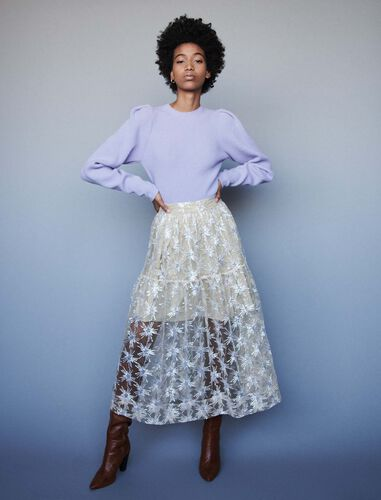 Sequin-embroidered tulle skirt : Skirts color Beige