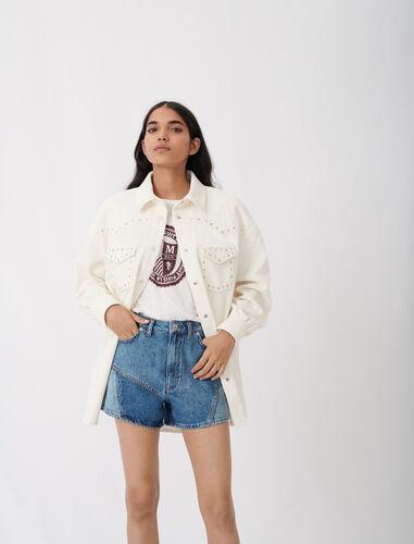 Corduroy overshirt with studs : Coats & Jackets color Ecru