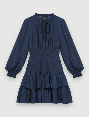 Satin dress with ruffles : Dresses color Navy