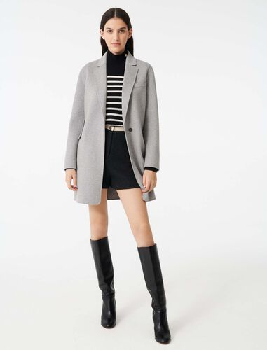 Double face cropped coat : Overcoat color Grey