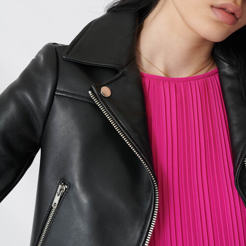 Mid-sleeve motorcycle leather jacket : Coats & Jackets color Black