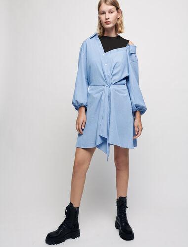 Trompe-l'oeil striped shirt dress : Dresses color Blue Sky