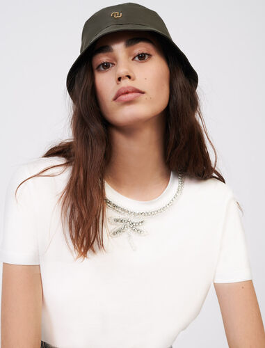 T-shirt with rhinestone collar : T-Shirts color White
