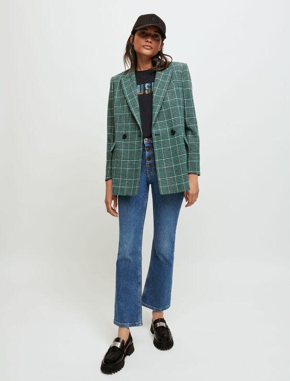 Double-breasted checked jacket - Coats & Jackets - MAJE