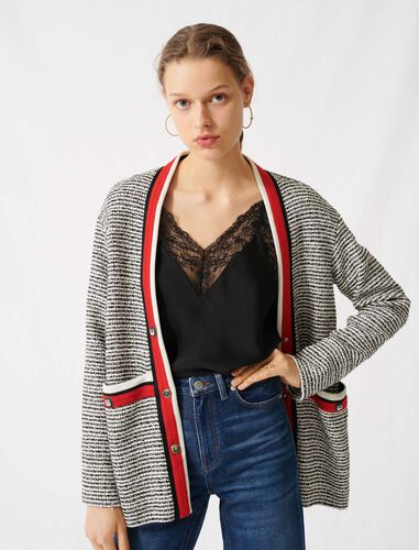 Tweed-effect cardigan, colourful bands : Cardigans color Ecru / Black