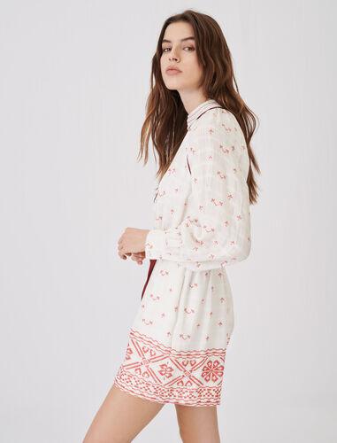 刺绣圆领连体裤 : null 顏色 红色/RED