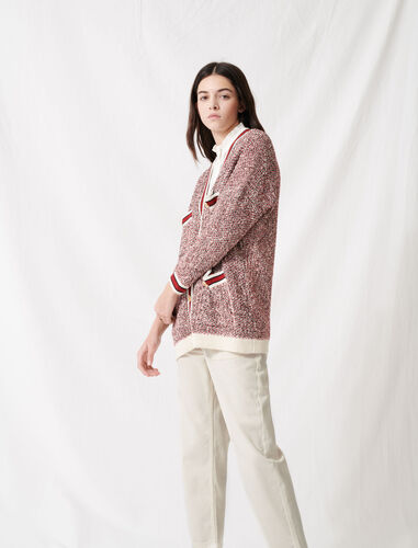 Fancy knit cardigan : Cardigans color Red/White