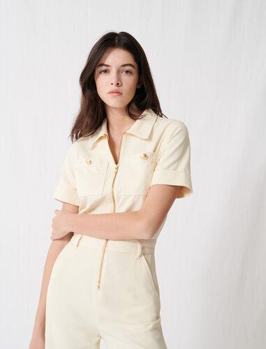 棉帆布工装风连体裤 : null 顏色 淡褐色/ECRU