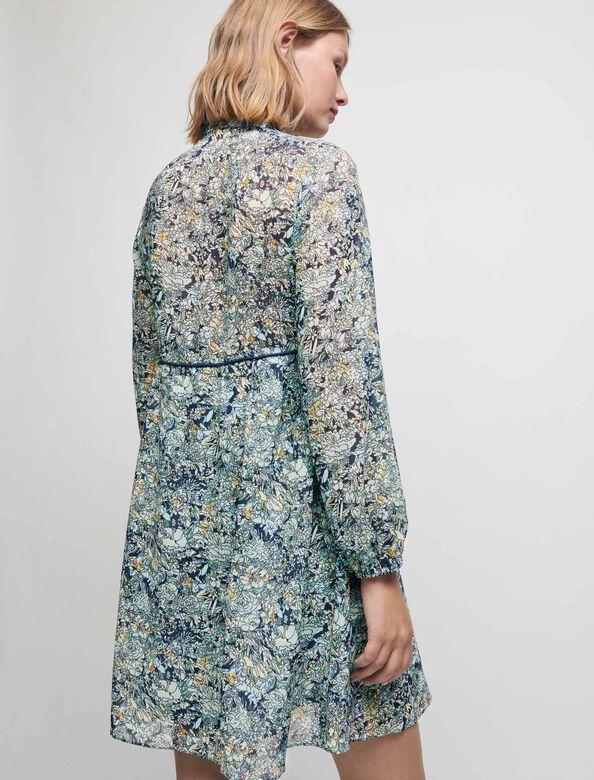 Printed chiffon dress : Dresses color Blue Bouquet