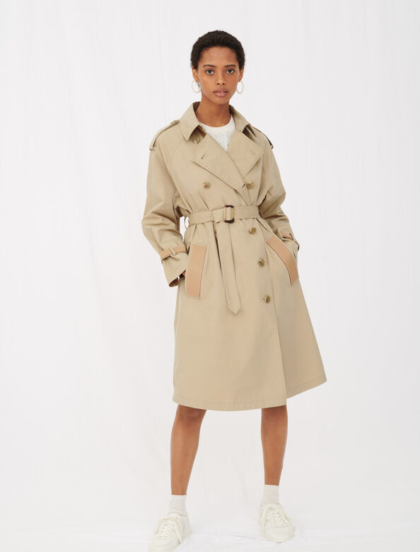 Belted trench coat with leather patches : Coats & Jackets color Camel