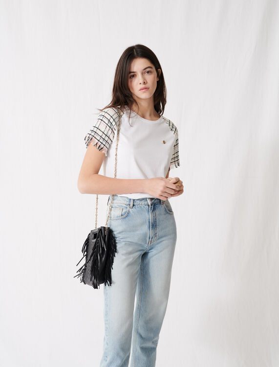 Tweed-style short-sleeved T-shirt : T-Shirts color Ecru