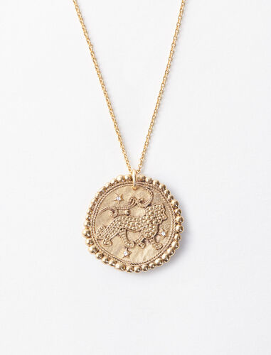Lion zodiac sign necklace : Jewelry color Old Brass