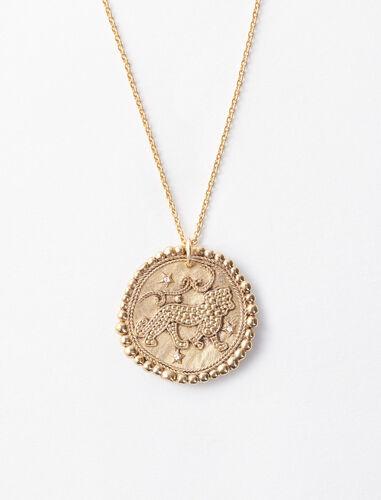 狮子座立体图案项链 : 首饰 顏色 古铜色/OLD BRASS