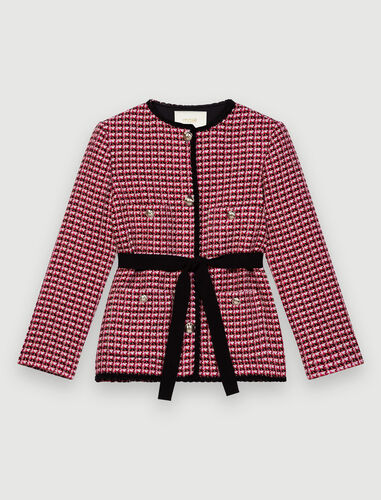 Contrast tweed jacket : Coats & Jackets color Fuchsia