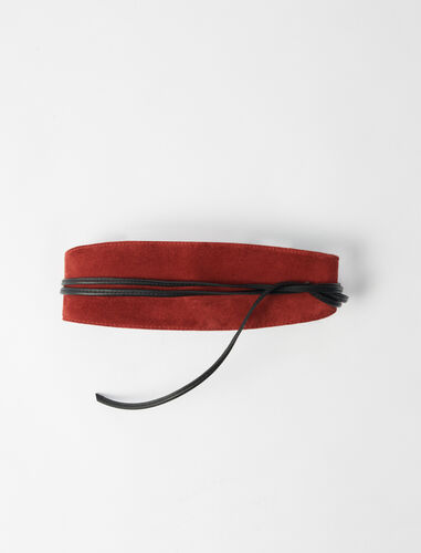 Suede tie belt : Belts color Terracota