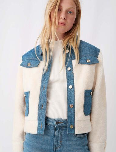 Denim and fur-effect jacket : Coats & Jackets color Blue/White