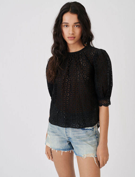 Guipure top with an open back - Tops & T-shirts - MAJE