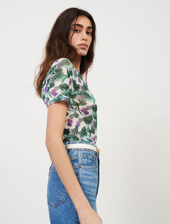 Printed tulle t-shirt : T-Shirts color White/Green/Purple