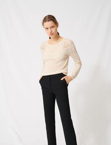 !Lightweight decorative knit jumper : Sweaters color Ecru