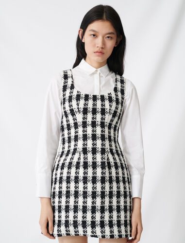 Tweed-style sleeveless dress : Dresses color Black / White