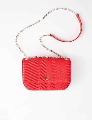 Quilted leather flap bag : Shoulder bags color Red
