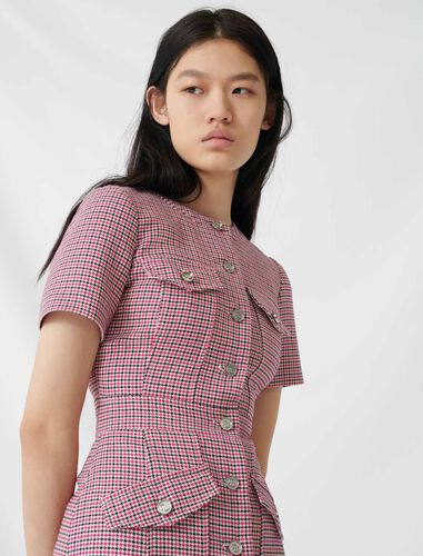 Fitted checked mini dress : Dresses color Fuchsia