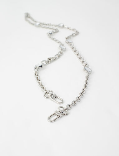 Chain shoulder strap with rhinestones : Other accessories color Palladium