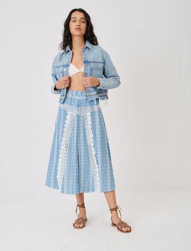 蕾丝花边半身裙 : 半身裙及短裤 顏色 浅蓝色/LIGHT BLUE