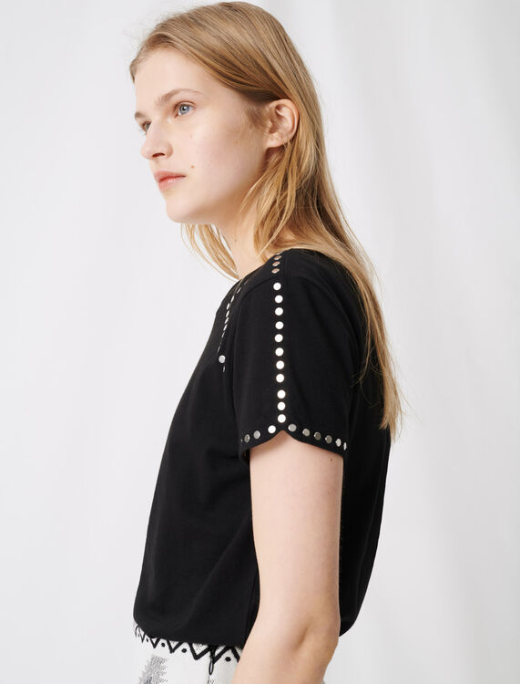 Rock 'n' roll T-shirt with studs : T-Shirts color Black