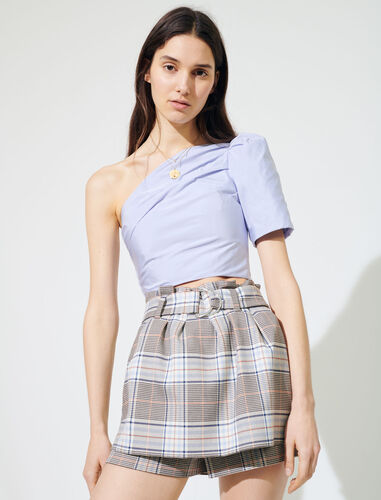Checked trompe-l'œil culottes : Shorts color Grey/Blue