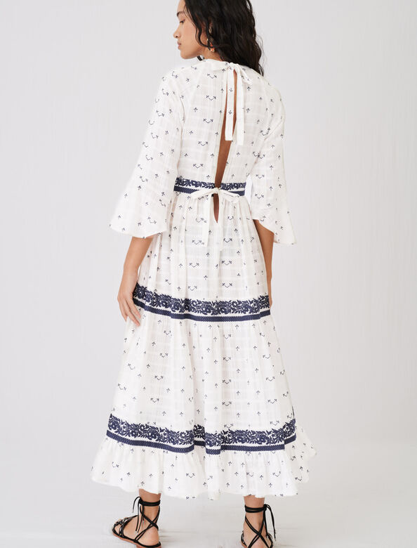 Maxi dress with all-over embroidery : Dresses color Navy