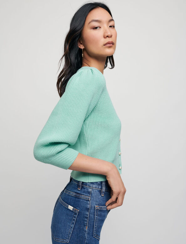 Ribbed cardigan with pearl buttons : Sweaters & Cardigans color Celadon
