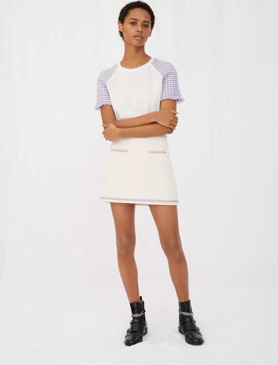 Jersey T-shirt with tweed sleeves - T-Shirts - MAJE