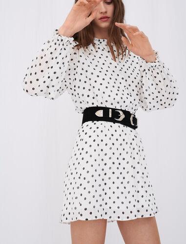 Crinkle-effect, belted polka dot dress : Dresses color White / Black