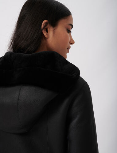Reversible hooded lambswool : Overcoat color Black
