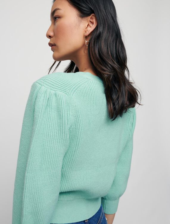 Ribbed cardigan with pearl buttons - Sweaters & Cardigans - MAJE