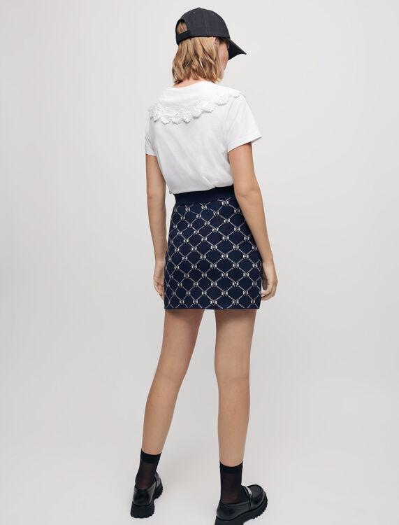 Jacquard knit skirt with bows - Skirts & Shorts - MAJE