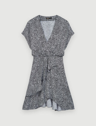 Asymmetric animal print dress : Dresses color Black / White