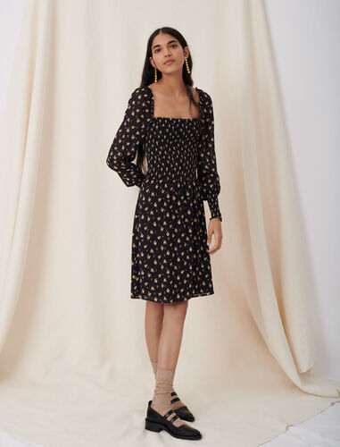 Smocked dress with floral print : Dresses color Black / Camel