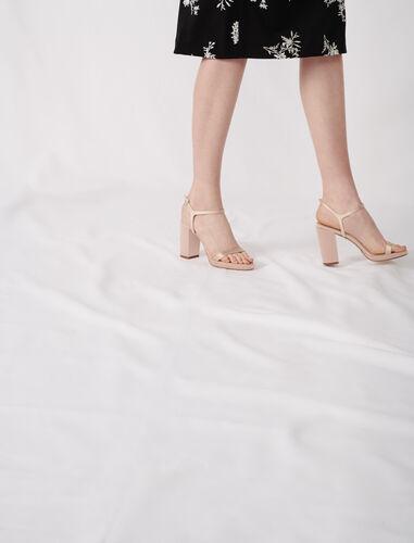 Satin heeled sandals : Sling-back & Sandals color Nude