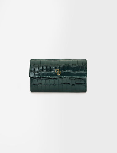 Croco embossed leather wallet with chain : Small leather goods color Ecru