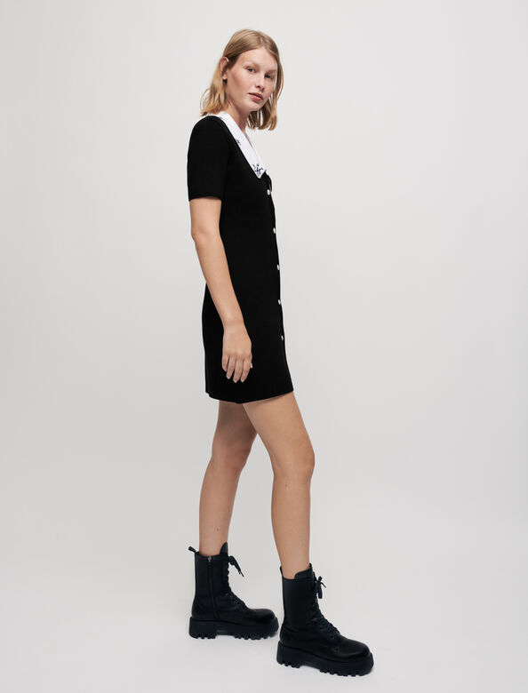Knit dress with embroidered collar : Dresses color Black