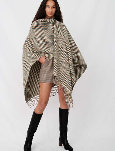 Wool blend poncho : Scarves and shawls color Brown
