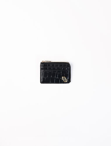 Embossed leather zip-up card holder : Small leather goods color Black