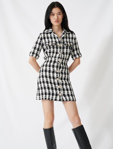 Tweed-style mini dress : Dresses color Black / White