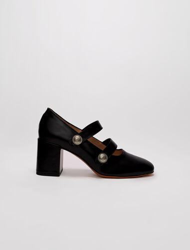 High-heeled leather Mary Janes : Pumps & Sandals color Black