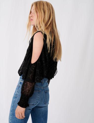 Muslin top with openwork designs : -30% color Black